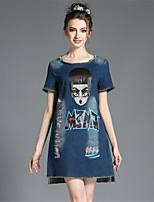 Women's Casual Denim Plus Size Cute Cartoon Print Tassel Loose Short Sleeve Dress