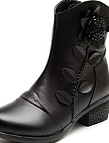 Women's Shoes Leather Fall / Winter Round Toe Boots Casual Chunky Heel Applique / Flower Black / Red