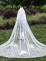 Wedding Veil Two-tier Cathedral Veils Lace Applique Edge Tulle / Lace White White