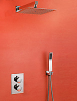 Contemporary Shower System Thermostatic Ceramic Valve Two Handles One Hole Chrome Shower Faucet Bath Mixer
