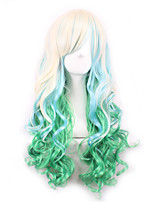 Beige/Green Lolita Ombre Wig Pelucas Pelo Natural Synthetic Wigs Heat Resistant Perruque Anime Cosplay Wigs Curly Peruca