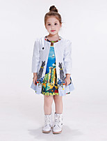 Girl's Casual/Daily Print Jacket & Coat / Trench Coat,Polyester Spring / Fall White