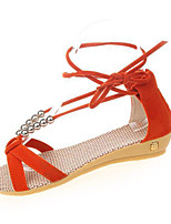 Women's Sandals Summer Sandals PU Casual Flat Heel Lace-up Blue / Orange Others