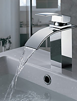 Style Chrome Waterfall Vanity Basin Mixer  Faucet Spout Square Brass
