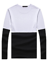 Men's Fashion Patchwork Round Collar Casual Slim Fit Long-Sleeve T-Shirt, Cotton/Plus Size/Casual