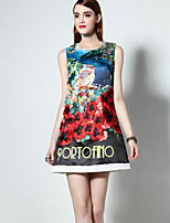 Boutique S  Sophisticated A Line Dress,Print / Embroidered Round Neck Above Knee Sleeveless Blue Polyester Summer