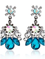 Blue Crystal Bohemian Fashion Exquisite Water Droplets Shape Earrings