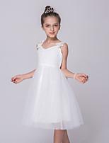 Mädchen Kleid-Ausgehen einfarbig Polyester Sommer Weiß