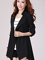Women's Casual/Daily Simple Trench Coat,Solid V Neck ½ Length Sleeve Fall Black / Green Cotton Medium