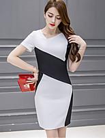 Women's Sexy Color Block Plus Size / Bodycon Dress,Slash Neck Above Knee Polyester