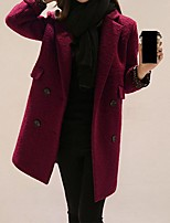 Women's Casual/Daily Simple Coat,Solid Notch Lapel Long Sleeve Winter Red / Orange Wool Medium