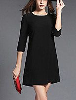 Women's Casual/Daily Simple Shift Dress,Solid Round Sweet  Neck Above Knee ¾ Sleeve Blue / Black Cotton Summer