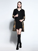 Women's Formal Vintage Coat,Plaid Round Neck Long Sleeve Winter Black Wool Medium
