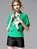AFOLD® Women's Shirt Collar 1/2 Length Sleeve Shirt & Blouse Red / Green-5568