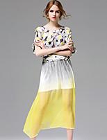 AFOLD® Women's Round Neck Short Sleeve Knee-length Dress-5686