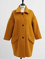 Mulheres Casaco Casual Simples Inverno,Sólido Azul / Rosa / Amarelo Lã Colarinho de Camisa-Manga Longa Grossa