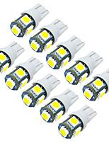 10pcs Jiawen / lot t10 0.8W 5x5050smd 55lm pour ampoule de voiture (DC12V)