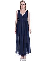 ADEAST Women's Casual/Daily / Formal / Holiday Sophisticated Sheath Dress,Polka Dot V Neck Maxi Sleeveless