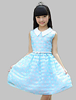 Girl's Casual/Daily Floral Dress,Cotton / Polyester All Seasons Blue