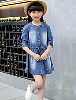 Girl's Casual/Daily Embroidered Dress / Jeans,Rayon Spring / Fall Blue