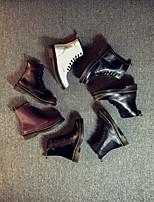 Chaussures Femme-Extérieure / Décontracté-Noir / Marron / Blanc / Gris / Bordeaux-Gros Talon-Rangers-Bottes-Cuir