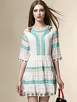 Boutique SWomen's Going out Street chic Chiffon Dress,Embroidered Round Neck Above Knee ½ Length Sleeve Polyester Summer