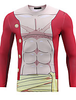 Inspirado por One Piece Monkey D. Luffy animado Disfraces Cosplay sudaderas Cosplay Estampado Amarillo Manga Larga T-Shirt