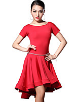 Latin Dance Dresses Women's Training Rayon Draped 1 Piece Black / Red / Leopard Print