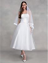 A-라인 웨딩 드레스 발목 길이 끈없는 스타일 튤 와 크리스-크로스