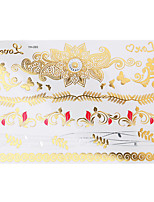 1pc Flash Metallic Tattoo Waterproof Gold Silver Love Butterfly Flower Temporary Tattoo Sticker YH-093