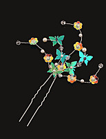 Mulheres Strass / Latão / Imitação de Pérola / Plástico Capacete-Casamento Alfinete de Cabelo 1 Peça Prata / Branco Irregular 19