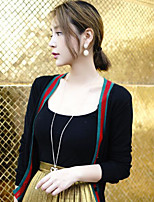 Women's Going out Vintage Cardigan,Solid Black Long Sleeve Cotton Summer Medium