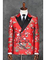 Suits Slim Fit Slim Notch Double Breasted Two-buttons Polyester Patterns 2 Pieces Red Straight Flapped  Black