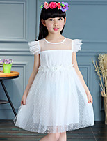 Girl's Cotton Summer Fashion Net yarn Fly Sleeve  Princess  Dress