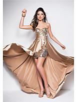 Formal Evening Dress Sheath / Column Sweetheart Asymmetrical Satin with Sequins