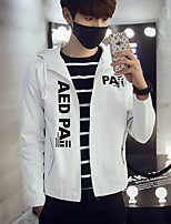 Men's Long Sleeve Casual / Plus Sizes Jacket,Polyester Solid Black / Blue / White