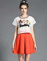 Women's Plus Size Gauze Embroidered Cartoon Patchwork Pleat Color Block Fake Two Pieces Dress