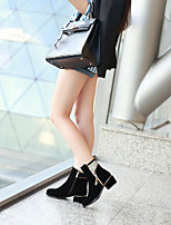 Women's Shoes PU Fall Round Toe Boots Casual Chunky Heel Zipper Black