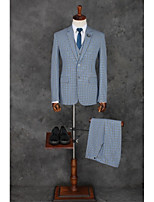 Suits Standard Fit Notch Single Breasted Two-buttons Polyester Checkered / Gingham 3 Pieces Light Blue Straight Flapped
