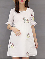 Round Neck Ruffle Maternity Dress,Cotton Above Knee Short Sleeve