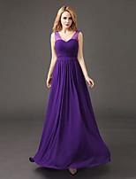 Floor-length Chiffon Bridesmaid Dress A-line V-neck with Pleats