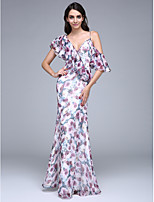 TS Couture® Formal Evening Dress Sheath / Column V-neck Floor-length Chiffon with Ruffles / Buttons