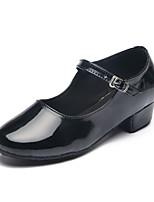 Chaussures de danse(Noir / Argent) -Personnalisables-Talon Plat-Cuir Verni-Latine / Moderne