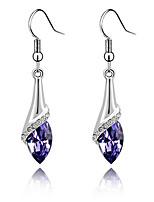 Super Bright Austrian Crystals Angel Eyes Teardrop-shaped Sterling Silver Amethyst Earrings