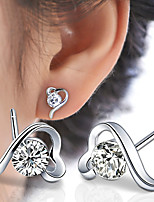 Heart-shaped Transparent Crystal Sterling Silver Stud Earrings
