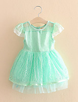 Kids Baby Girl Child Lace Solid Color Short-Sleeved Dress Child