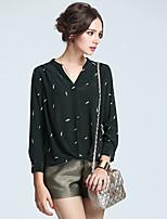 AFOLD® Women's V Neck Long Sleeve Shirt & Blouse Red / Dark Green-5247