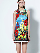 Boutique S Going out Sophisticated A Line Dress,Embroidered Round Neck Above Knee Sleeveless Blue Polyester Summer