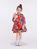 Girl's Casual/Daily Print Jacket & Coat / Trench Coat,Polyester Spring / Fall Red