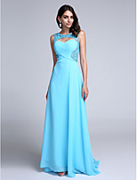 TS Couture®Formal Evening Dress Sheath / Column Scoop Sweep / Brush Train Chiffon with Beading / Side Draping